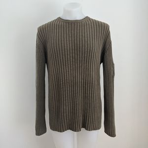 TED BAKER Ribbed Pullover, Olive Green, Size 5